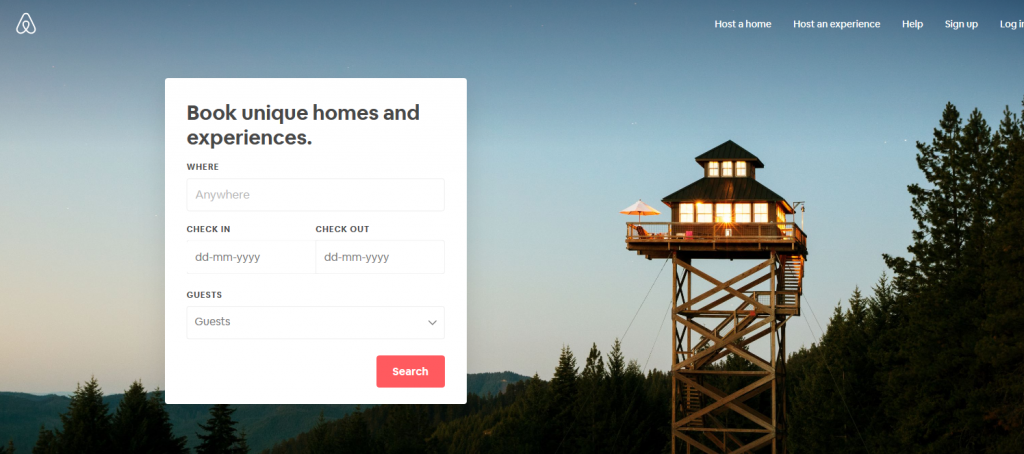 01 - Airbnb home page - Rentcubo
