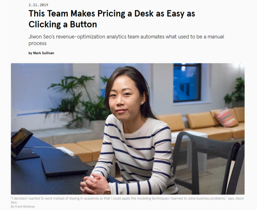 Pricing a Desk as Easy as Clicking a Button - WeWork